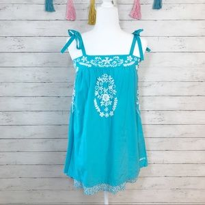 Billabong Blue Embroidered Tie Strap Tunic Small